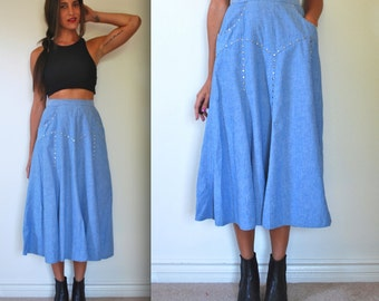 Vintage 80s 90s Varda Garfinkel High Waisted Studded Chambray Skirt (size small)