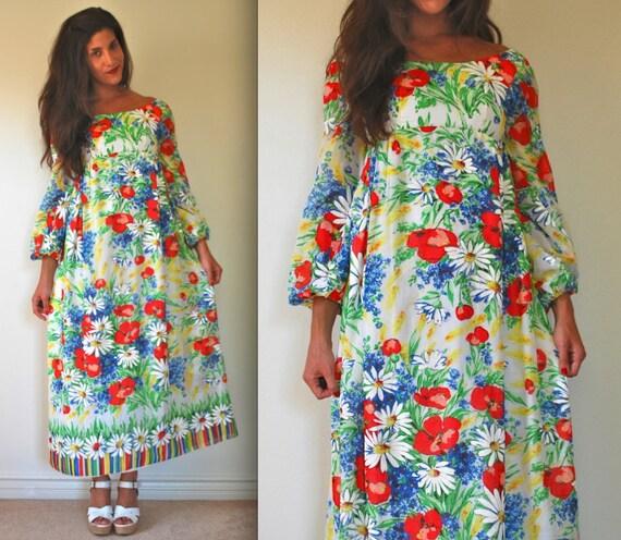 SALE SECTION / 50% off Vintage 70s May Queen Cotton Voile Empire Waist Floral Maxi Dress (size xxs, xs)