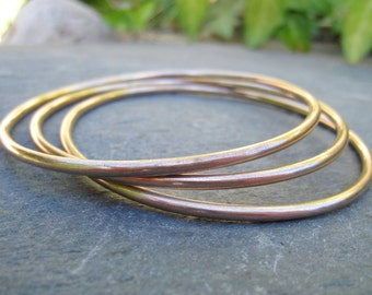 Bronze Bangles with a Brushed Finish, set of 3 Bronze Bangles Bracelets, stacking layering bracelets golden - handmade to order in your size