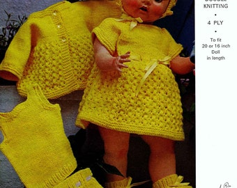 "Vintage Dolls Clothing for 20"" Doll, Includes Jacket, Dress, Bonnet, Bootees, Vest and Pants, Knitting Pattern, 1960 (PDF) Pattern, Emu 8155"