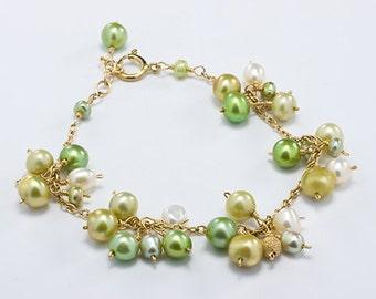 Green Pearl Bracelet, Green Bridesmaid Jewelry, Pearl Cluster Bracelet, Gold, Peridot, Lime, Light Green Pearl Bracelet