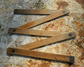 French wooden Carpenter Folding rule - hand engraved numbers - 1920'  Beautiful numbers