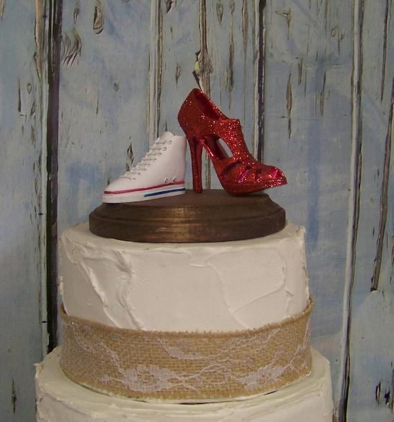 wedding cake topper converse tennis shoe and stiletto cake