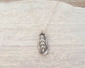 Silver wheat nature relic necklace