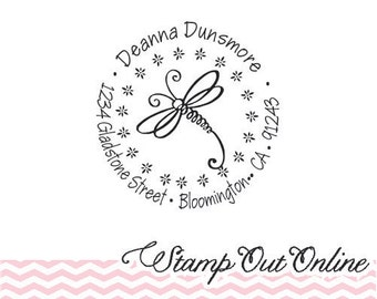 Dragonfly  custom return address rubber stamp self inking --2515