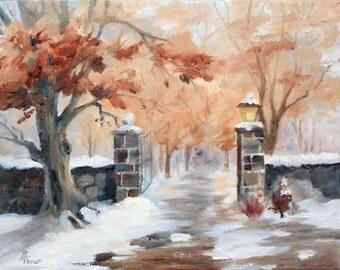 Winter Sunset Original 11x14 inch Oil Painting