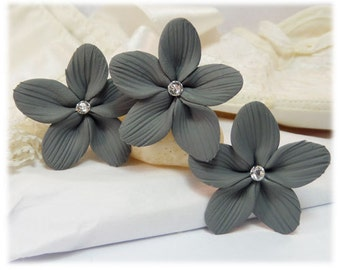 Gray Hair Flowers - Gray Flower Hair Pins, Charcoal Gray Wedding Hair Flowers