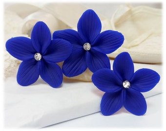 Blue Hair Flowers - Blue Flower Hair Pins