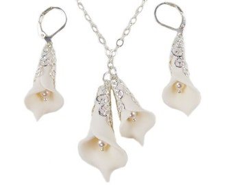Double Calla Lily Jewelry Set - Calla Lily Jewelry, White Calla Lily Wedding Jewelry, Calla Lily Filigree ewelry