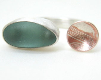 Mokume-gane and Sea Aquamarine Beach Glass Ring, Sea Glass Ring, Two Part Ring