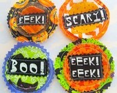 Halloween Sewn Fabric Sentiment Embellishments