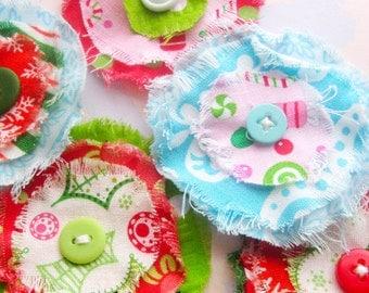Frayed Fabric Flower Embellishments - Holiday