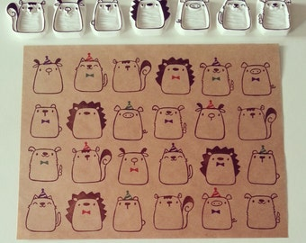 Furry Friends Party - Handcarved Stamp