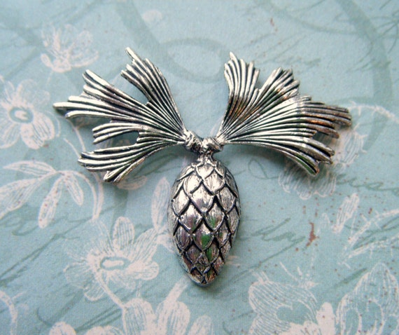 NATURE Pinecone Spray Silver ox Brass Stampings - Jewelry Findings (C-1305) **