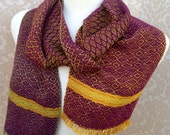 Gold to Green with Purple Handwoven Scarf