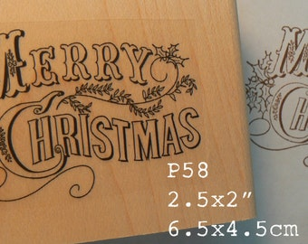P58 Merry Christmas rubber stamp