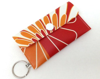Business Card Holder, Gift Card Case - Flowers on Red Orange White