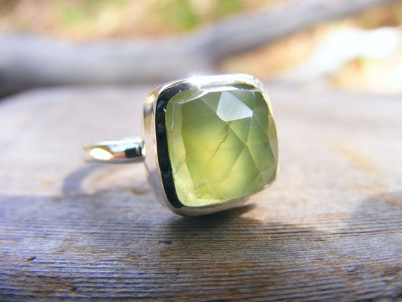 Green Faceted Prehnite Gemstone Sterling Silver Ring, Cushion Cut Green Stone Ring