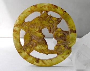 Carved Jade Pendant- Vintage Asian Pendant- Ethnic Chinese Yellow Green Jade Openwork Double Fish Carp
