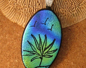 Etched Dichroic Pendant Fused Glass Pendant Glass Pendant Hand Etched Jewelry Dichroic Jewelry