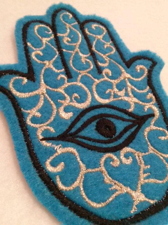 Hamsa, Chamsa, khamsa embroidered iron on patch turquoise and black