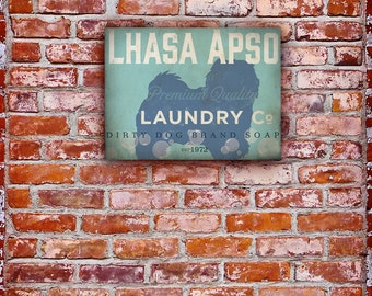 Lhasa Apso Laundry Company illustration graphic art on gallery wrapped canvas by stephen fowler