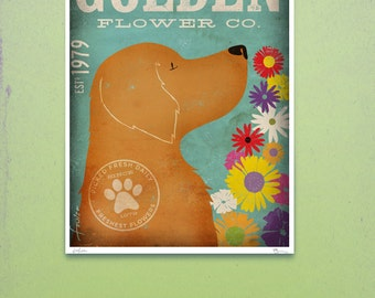 Golden Retriever flower company original graphic illustration giclee archival print  by stephen fowler Pick a Size
