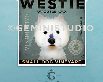 Westie Wine Company illustration giclee archival signed artist's print by Stephen Fowler