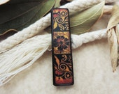 "2 x 1/2"" Floral Intricacy Tribal Batik Pattern #3 Gold Red Rust Black JLynn MatchStick ART Tile wood Half domino pendant"