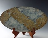 Oval Wildflower Tray / Platter in Autumn Amber and Hazy Blue