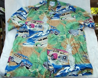 Vintage Rayon Hawaiian Shirt Palms and Woodys sz Large Diamond Head made in Hawaii