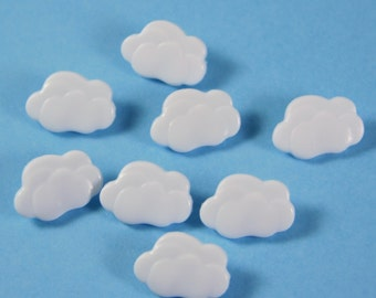 Small White Clouds Novelty Buttons
