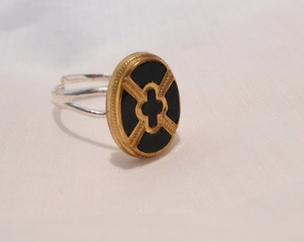 Button Ring - Black and Gold Glass Oval - Adjustable