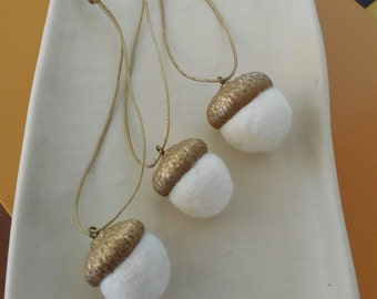 50 white felted acorn ornaments with painted gold caps - wedding decoration - Christmas decoration