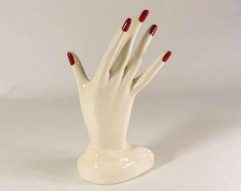 White Hand Jewelry Display Red Nails made to order