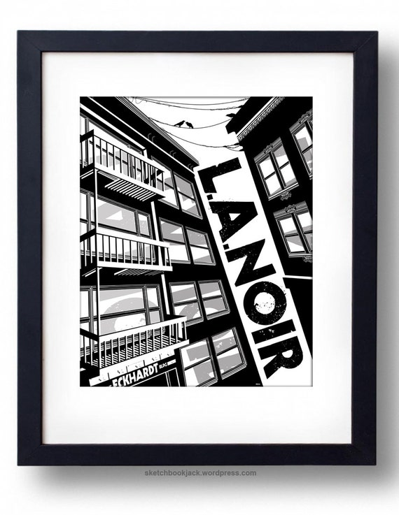 sketchbookjack jackandtill etsy print black and white art film noir print la los angeles downtown bold illustration