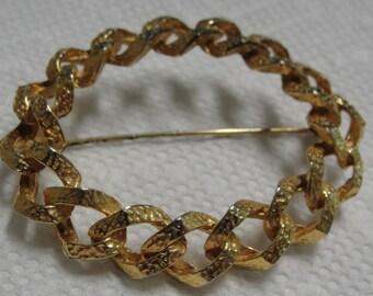 Goldtone Round Chain Brooch