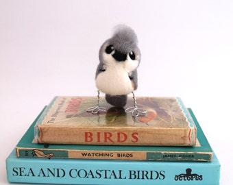 Mini Bird Tufted Titmouse in Soft Grey and White