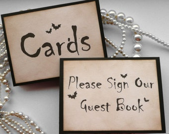 SAVE 25%, Wedding Signs - Please Sign Our Guest Book and Cards - Halloween Wedding