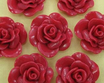 6 Large Fuchsia Rose Cabochons