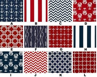 Custom Navy Blue Red & White Nautical Baby Nursery 3-Piece Crib Bedding Set made with Designer Fabrics