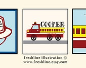 "Personalized Nursery Wall Art - Firetruck Themed Nursery Art, Dalmation, Fireman Hat, Three 5""x5"" art prints - other sizes available!"