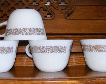 Pyrex Woodland Teacup Coffee Cup Set of 4
