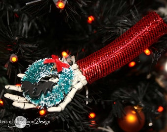 Skeleton hand Nightmare ornament collection decoration halloween christmas tree festive decor --bat wreath-- By Sisters of the Moon