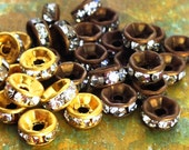 5mm 12 pcs Brass Patina Rhinestone Rondelle Spacer Beads - Channel Edged - Choice of Antiqued Brass or Raw - Patina Queen