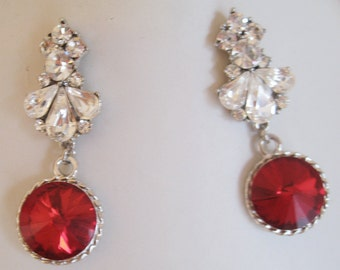 Bridal Jewelry - Bridal Accessories - Wedding Jewelry - Bridesmaids Earrings Fire Red Rhinestone Earrings