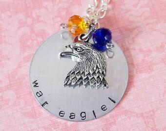 Hand Stamped Auburn War Eagle Necklace