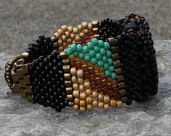 Free Form Peyote Stitch Beaded Bracelet  - Thunder - Bead Weaving - Onyx
