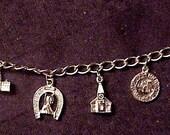 Iowa West Bend Souvenir Charm Bracelet 1960s corn, redemption etc.