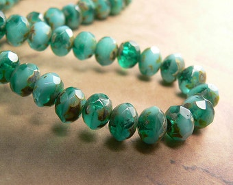 Emerald Opaque Blue Czech Glass Beads Rondell Green Aqua Picasso 6x4mm (12)
